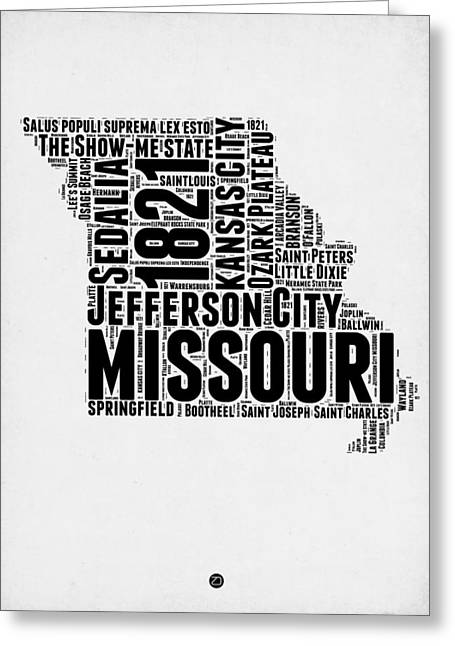 Missouri Word Cloud Map 2 Greeting Card by Naxart Studio