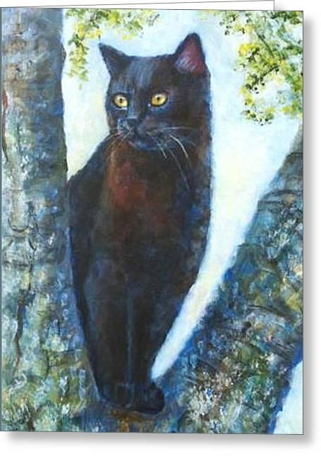 Missy In Tree Greeting Card by Jana Baker
