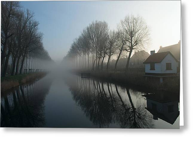 Mist Across The Canal Greeting Card by Elisabeth Wehrmann