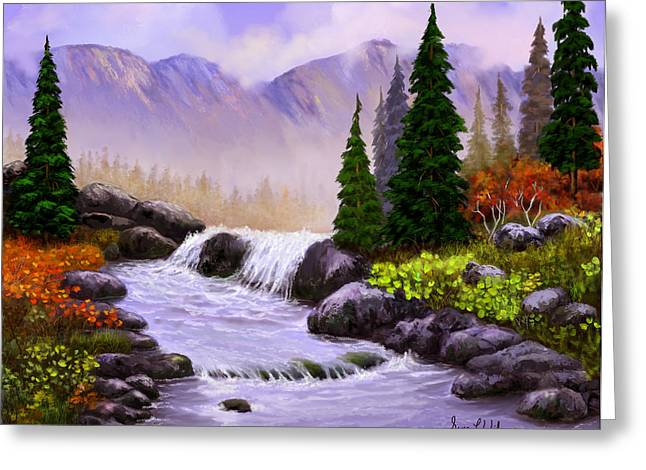 Greeting Card featuring the painting Mist In The Mountains by Sena Wilson