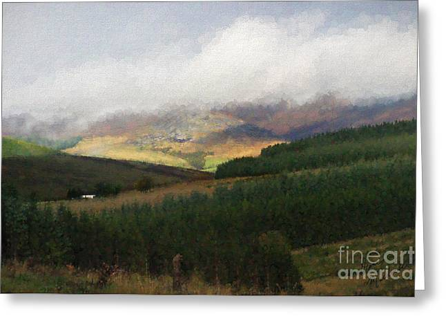 Enhanced Greeting Cards - Mist On The Hills Greeting Card by Diane Macdonald