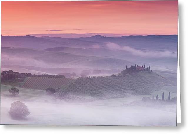 Mist Over Belvedere - Panaroma Greeting Card by Michael Blanchette