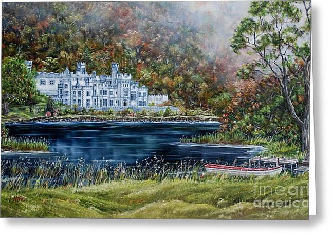 Mist Over Kylemore Abbey Greeting Card by Avril Brand
