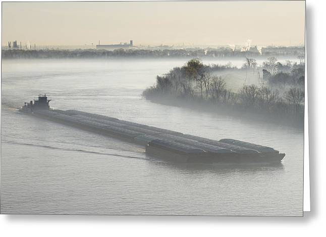 Barge Greeting Cards - Mist Shrouded River and Tugboat Greeting Card by Jeremy Woodhouse