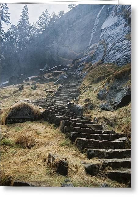 Mist Trail Greeting Card by Richard Verkuyl