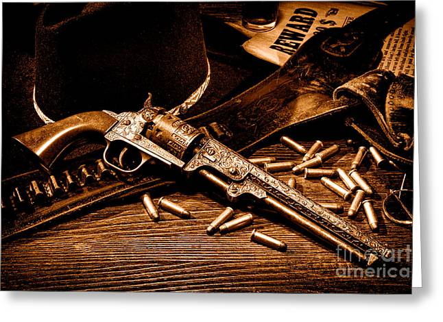 Mister Durant's Revolver - Sepia Greeting Card by Olivier Le Queinec