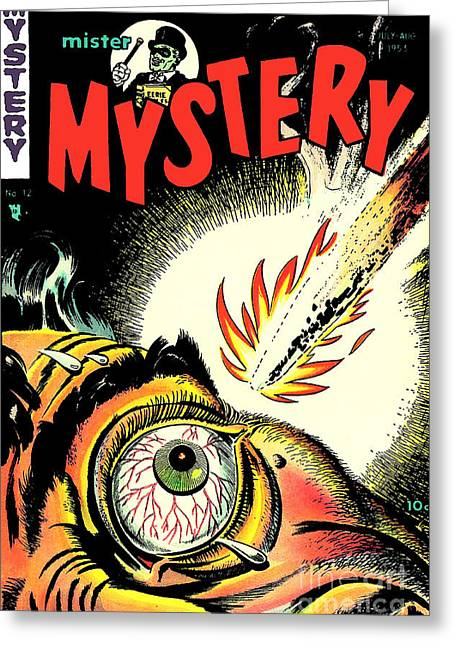 Mister Mystery Comic Book Cover Greeting Card by Halloween Dreams