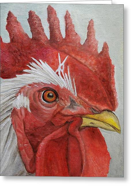 Greeting Card featuring the painting Mister Rooster by Angeles M Pomata