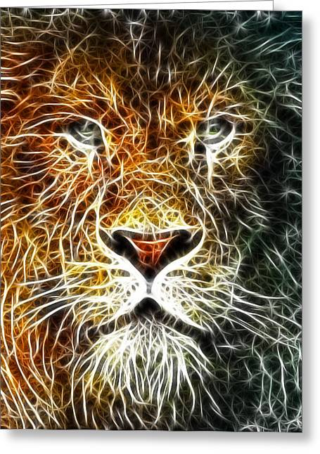 Greeting Card featuring the mixed media Mistical Lion by Paul Van Scott