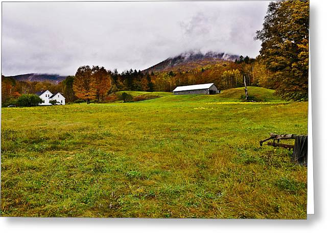 Misty Autumn At The Farm Greeting Card