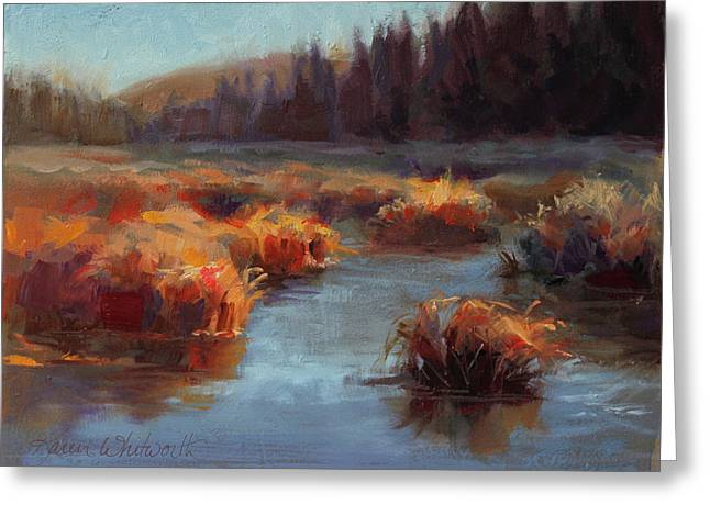 Misty Autumn Meadow With Creek And Grass - Landscape Painting From Alaska Greeting Card by Karen Whitworth