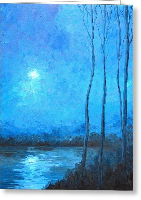 Misty Blue Greeting Card by Beth Maddox