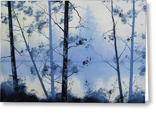 Misty Blue Lake Greeting Card