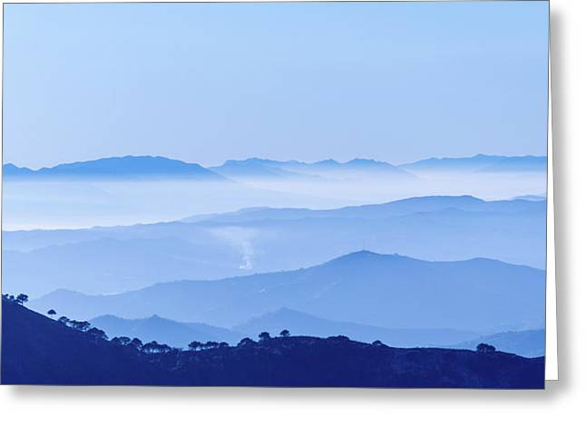 Greeting Card featuring the photograph Misty Blue Mountain Panorama by Geoff Smith