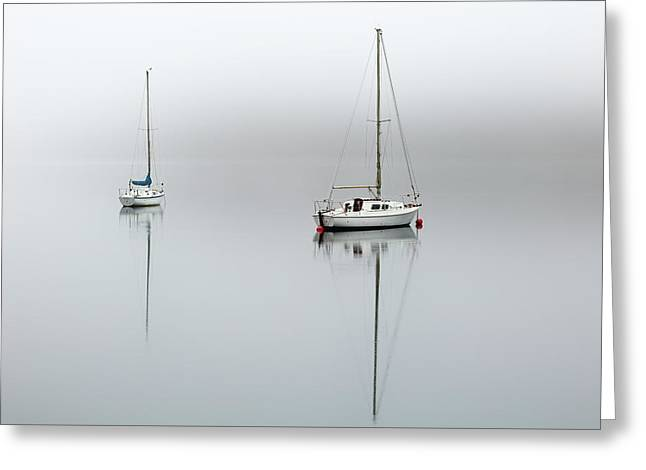 Greeting Card featuring the photograph Misty Boats by Grant Glendinning