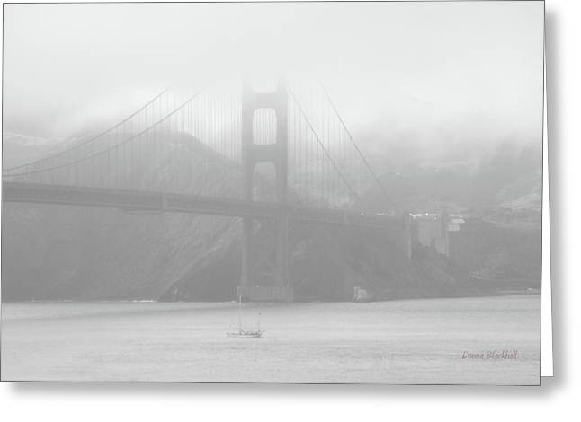 Misty Bridge Greeting Card by Donna Blackhall