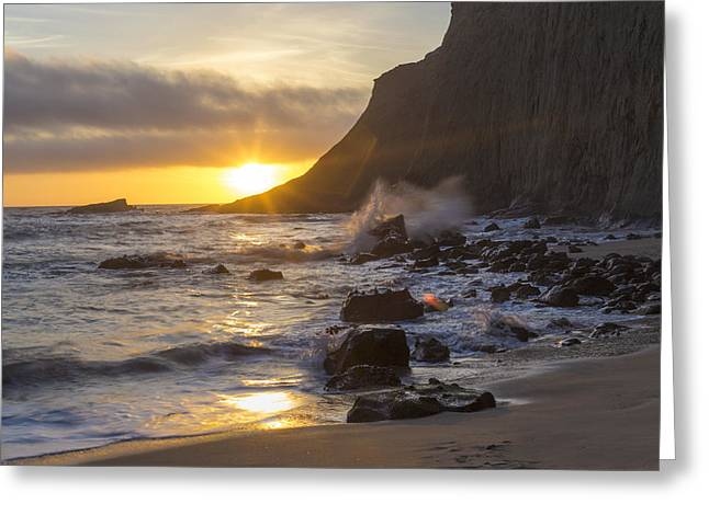 Misty Cliffs Greeting Card by Jeremy Jensen