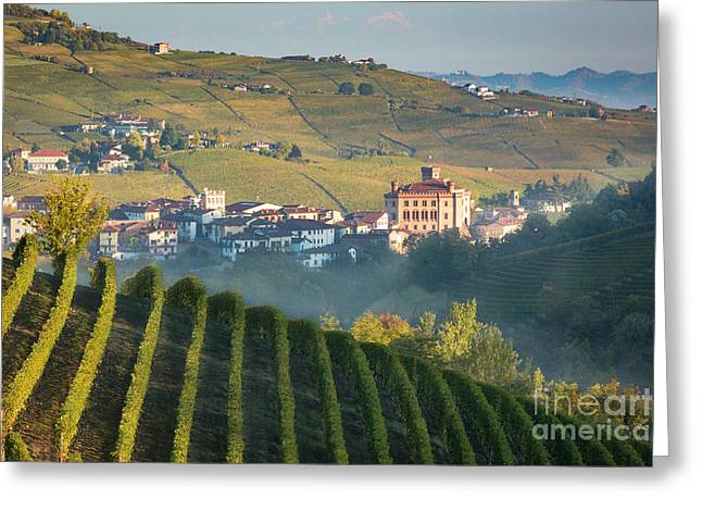 Misty Dawn Over Barolo Greeting Card by Brian Jannsen
