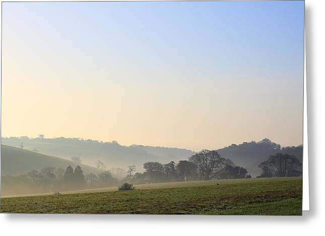 Misty Dawn Over The Cornish Countryside Greeting Card