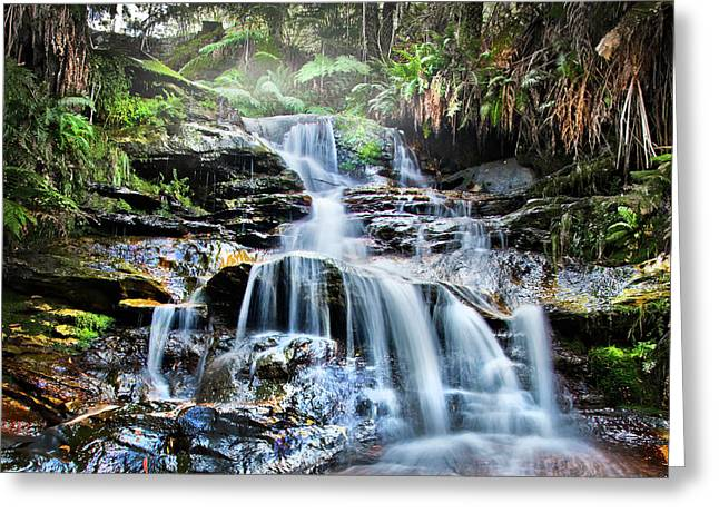 Misty Falls Greeting Card by Az Jackson
