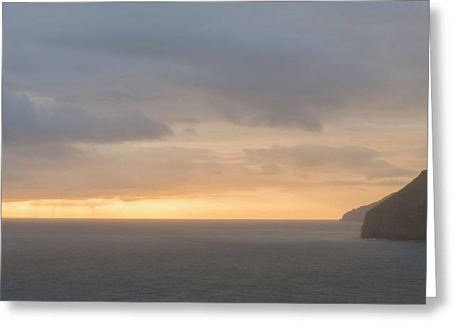 Misty Foggy Sea Landscape Image During Vibrant Sunrise Greeting Card