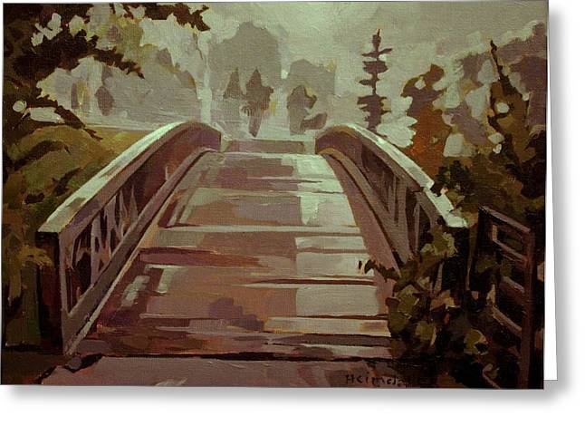 Greeting Card featuring the painting Misty Footbridge by Tim  Heimdal