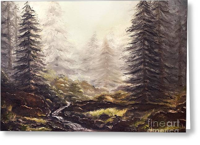 Misty Forest Stream Greeting Card by Angelina Cornidez