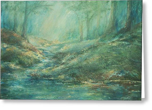 The Misty Forest Stream Greeting Card by Mary Wolf