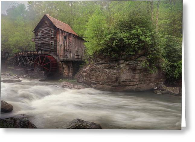 Misty Glade Creek Grist Mill Greeting Card by Lori Deiter