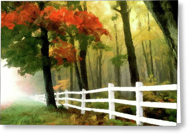 Greeting Card featuring the painting Misty In The Dell P D P by David Dehner