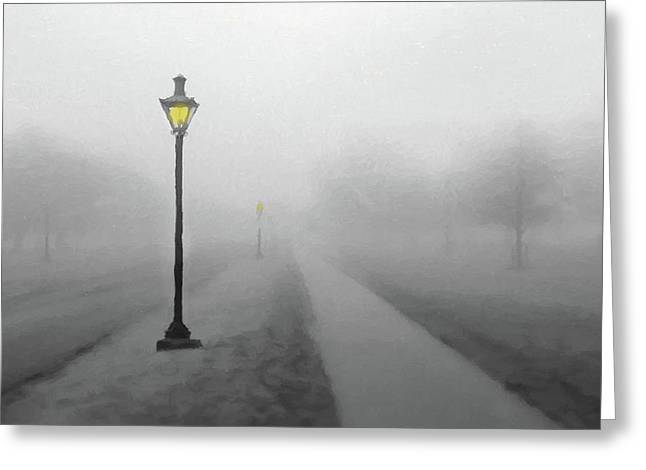 Greeting Card featuring the photograph Misty Lane  Back In The Day by David Dehner