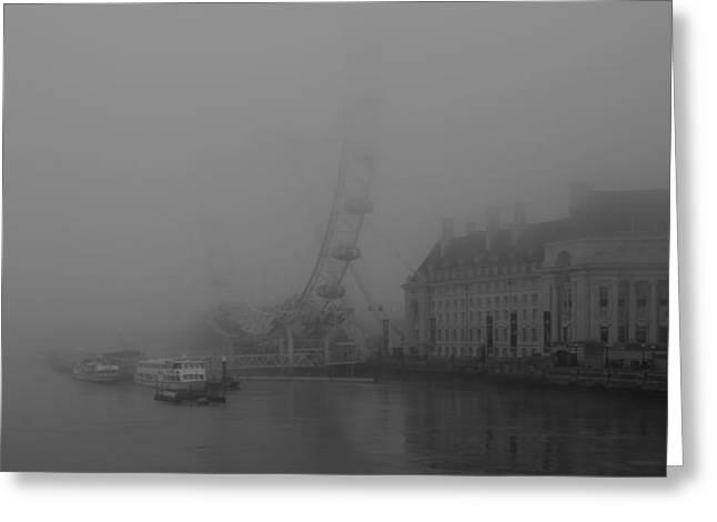 Misty London Eye Greeting Card by Maj Seda
