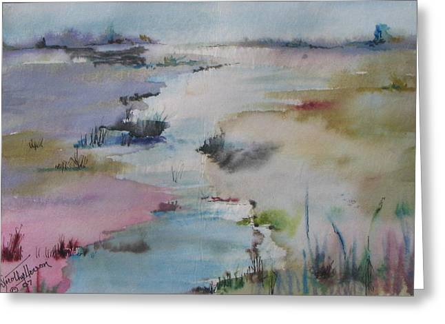 Misty Marsh Greeting Card by Dorothy Herron