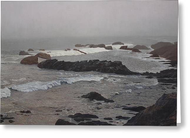 Misty Morning At Ragged Point, California Greeting Card