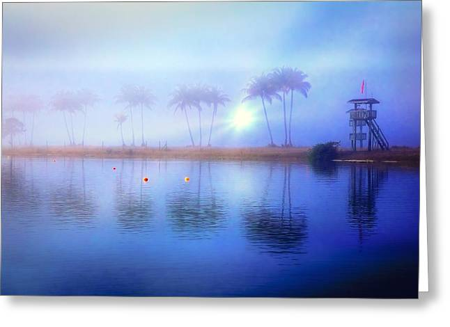 Misty Morning At The Lake Greeting Card by Debra and Dave Vanderlaan
