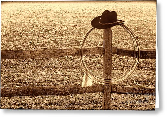Misty Morning At The Ranch Greeting Card