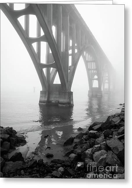 Misty Morning At Yaquina Bridge Greeting Card by Inge Johnsson