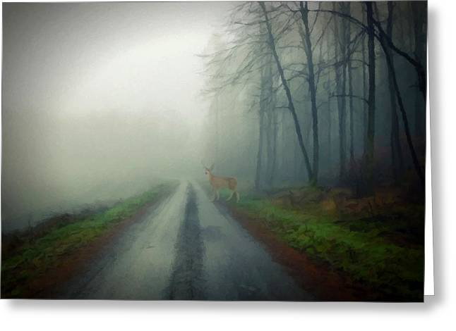 Greeting Card featuring the photograph Misty Morning Deer by David Dehner