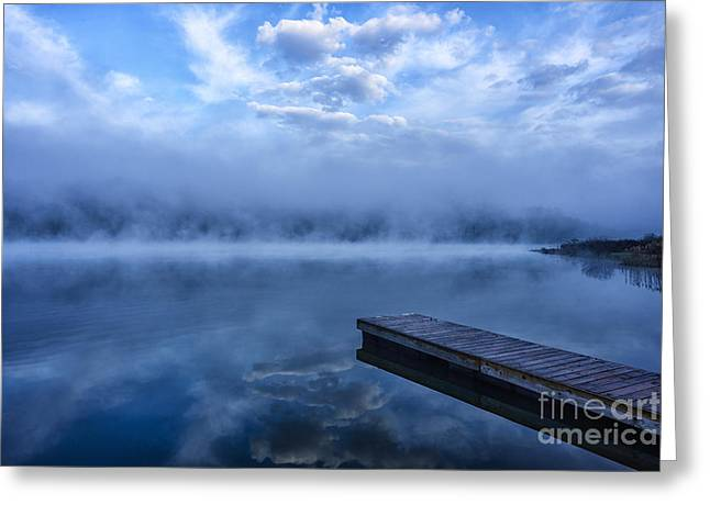 Misty Morning Dock Greeting Card