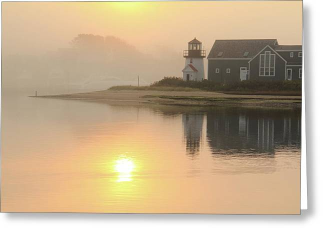 Misty Morning Hyannis Harbor Lighthouse Greeting Card by Roupen  Baker