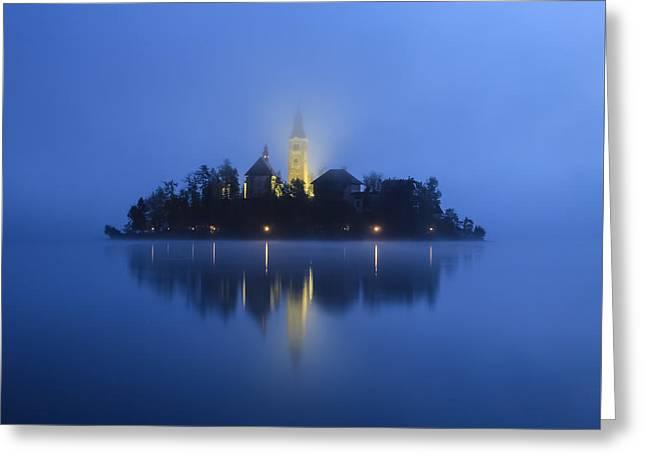 Misty Morning Lake Bled Slovenia Greeting Card