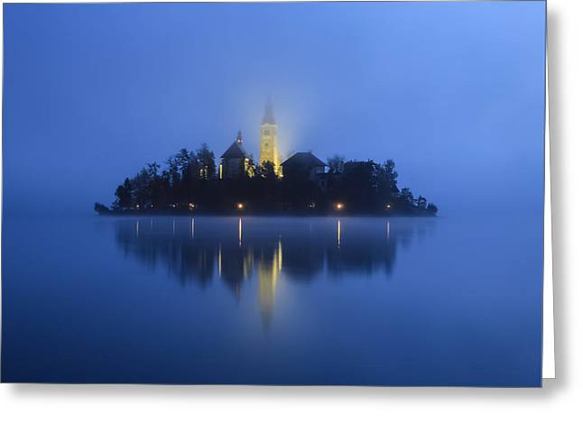 Misty Morning Lake Bled Slovenia Greeting Card by Tom and Pat Cory