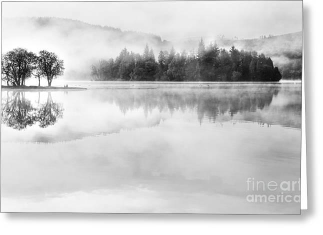 Misty Morning Loch Ard Greeting Card by Janet Burdon