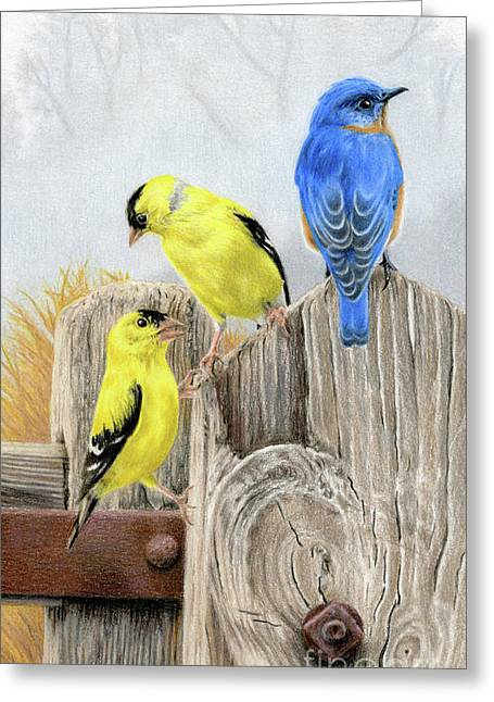 Misty Morning Meadow- Goldfinches And Bluebird Greeting Card