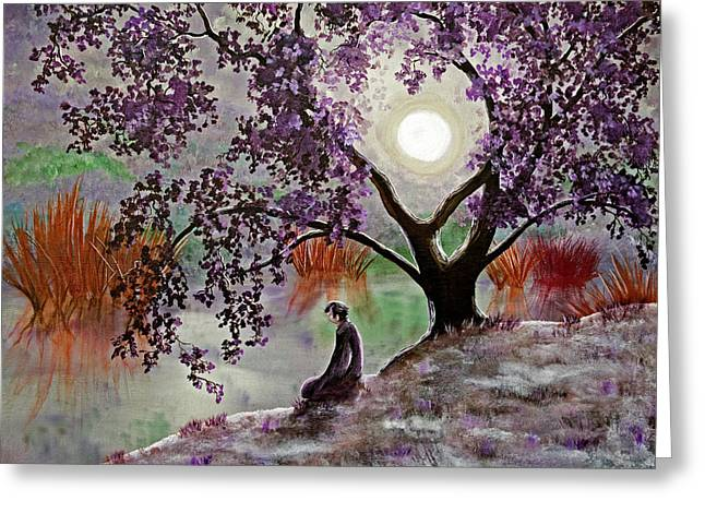 Misty Morning Meditation Greeting Card by Laura Iverson