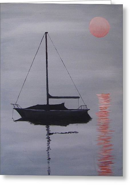 Misty Morning Mooring Greeting Card