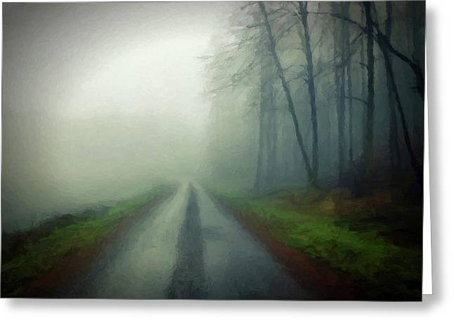 Misty Morning Mountain Road  Greeting Card by David Dehner