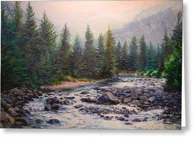 Misty Morning On East Rosebud River Greeting Card by Patti Gordon