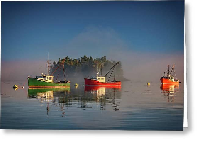 Misty Morning On Johnson Bay Greeting Card