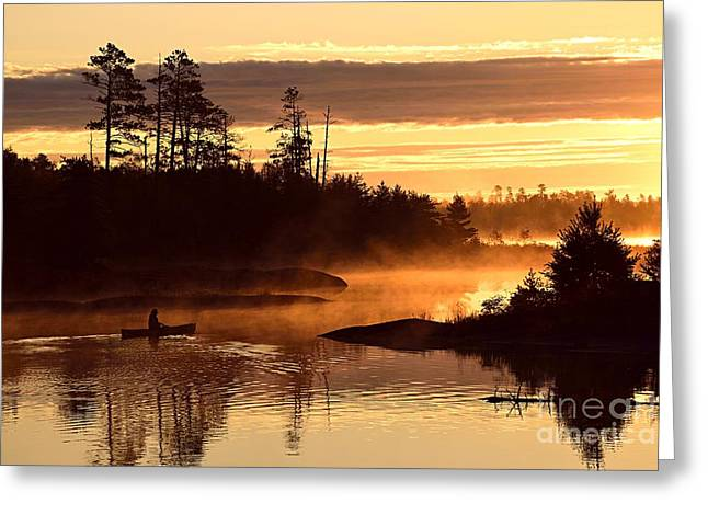 Misty Morning Paddle Greeting Card by Larry Ricker